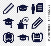 student icons set. set of 9... | Shutterstock .eps vector #644453773