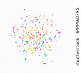 colorful confetti and ribbon... | Shutterstock .eps vector #644460793
