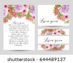 romantic invitation. wedding ... | Shutterstock .eps vector #644489137