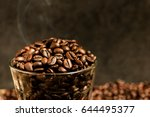 roasted coffee beans and... | Shutterstock . vector #644495377