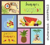 set of cute creative card... | Shutterstock .eps vector #644499613