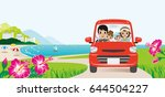 car driving in the seaside road ... | Shutterstock .eps vector #644504227