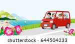 car driving in the seaside road ... | Shutterstock .eps vector #644504233