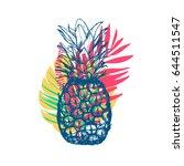 vector hand drawn pineapple... | Shutterstock .eps vector #644511547