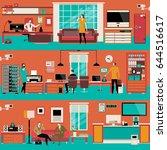 vector set of modern workspace... | Shutterstock .eps vector #644516617