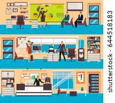 vector set of modern workspace... | Shutterstock .eps vector #644518183