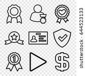 badge icons set. set of 9 badge ... | Shutterstock .eps vector #644523133