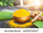 turmeric powder and fresh... | Shutterstock . vector #644523427