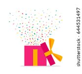 opened gift box and confetti.... | Shutterstock .eps vector #644531497