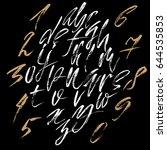 hand drawn dry brush font.... | Shutterstock .eps vector #644535853