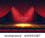premium red curtains stage ... | Shutterstock .eps vector #644541487