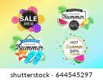 set of summer sale background... | Shutterstock .eps vector #644545297