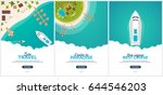 summer travel banner. sea... | Shutterstock .eps vector #644546203