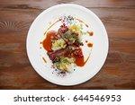 venison fillet and potato puree ... | Shutterstock . vector #644546953