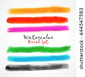 six watercolor brush stroke... | Shutterstock .eps vector #644547583