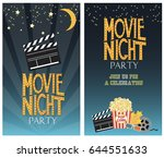 set of movie party invitation... | Shutterstock .eps vector #644551633
