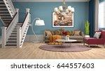 interior living room. 3d... | Shutterstock . vector #644557603