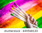 artistic brush in the artist's... | Shutterstock . vector #644568133