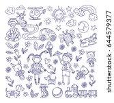 children dreams. vector hand... | Shutterstock .eps vector #644579377