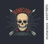 skull hipster retro emblem with ... | Shutterstock .eps vector #644579893