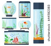 transparent aquarium vector... | Shutterstock .eps vector #644582383