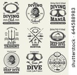 scuba diving vintage vector... | Shutterstock .eps vector #644588983