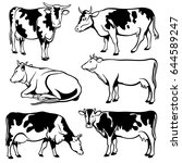 black and white cows vector set | Shutterstock .eps vector #644589247