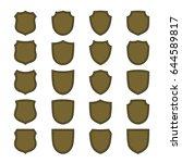 shield shape bronze icons set.... | Shutterstock .eps vector #644589817