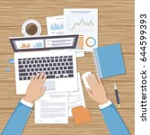 businessman working on laptop.... | Shutterstock . vector #644599393