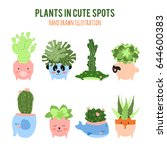cactus in pot  flat design... | Shutterstock .eps vector #644600383