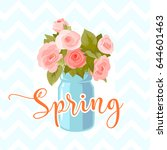 flower greeting card background ... | Shutterstock .eps vector #644601463