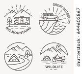 set of camping vector line logo ... | Shutterstock .eps vector #644602867