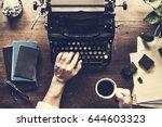 hand typing retro typewriter...   Shutterstock . vector #644603323