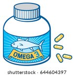 fish oil and omega 3 bottle and ... | Shutterstock .eps vector #644604397