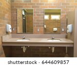 simple clean public washroom... | Shutterstock . vector #644609857