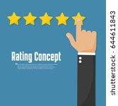 rating golden stars. customer... | Shutterstock .eps vector #644611843
