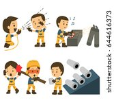 set of construction worker ... | Shutterstock .eps vector #644616373