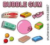 bubble gum vector cartoon set... | Shutterstock .eps vector #644618887