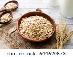 oats  rolled oats or oat flakes ... | Shutterstock . vector #644620873