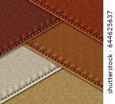 set of realistic leather... | Shutterstock .eps vector #644625637