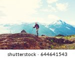 hiking man in canadian... | Shutterstock . vector #644641543