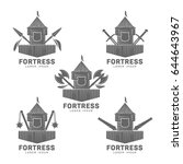 set fortress label and logo... | Shutterstock . vector #644643967
