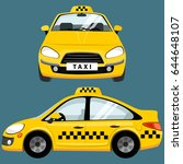 yellow taxi car. flat styled... | Shutterstock .eps vector #644648107