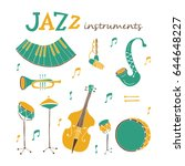 vector jazz instruments icons... | Shutterstock .eps vector #644648227