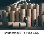 at a paper mill factory | Shutterstock . vector #644653333