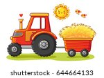 Stock vector tractor with a cart the agricultural machinery transports hay vector illustration in a cartoon 644664133