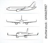 passenger airplane silhouettes  ... | Shutterstock .eps vector #644665987