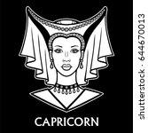 zodiac sign  capricorn.... | Shutterstock .eps vector #644670013