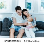 happy couple with baby child. | Shutterstock . vector #644670313