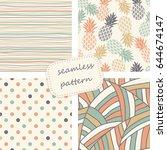 set of 4 vintage seamless...   Shutterstock .eps vector #644674147